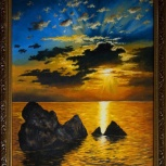 Картина - Волуны на закате, Архангельск