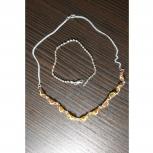 Ожерелье серебряное с янтарем и серебряный браслет, Архангельск