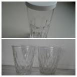 3 стакана стеклян.рифлёные,  + бирдекели, Архангельск