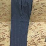 Брюки мужские из ткани серо-синего цвета в полосочку, Архангельск